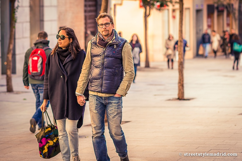 Chaleco de Plumas, jeans, street style madrid