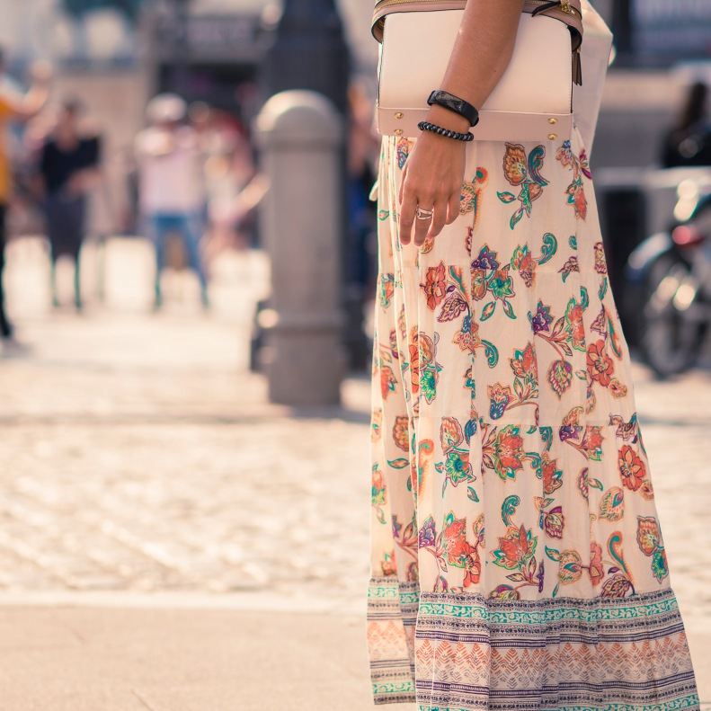 street style, madrid, moda, fashion, ootd, streetstyle, boho, falda, printed