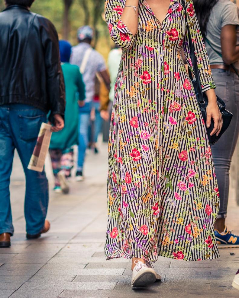 Street Style Madrid vestido largo de flores